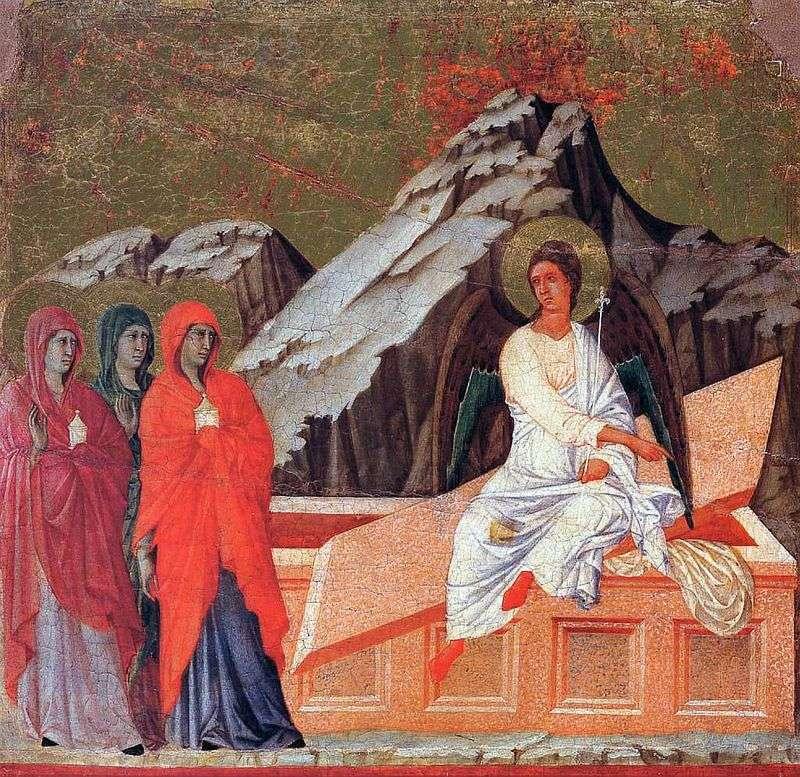 Mirra niosąca żony w Świętym Grobie   Duccio di Buoninsegna