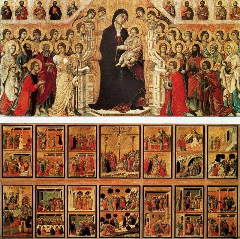 Madonna z aniołami i świętymi (Maestas)   Duccio di Buoninsegna