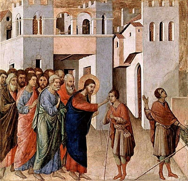 Maestas Uzdrawianie Niewidomego   Duccio di Buoninsegna