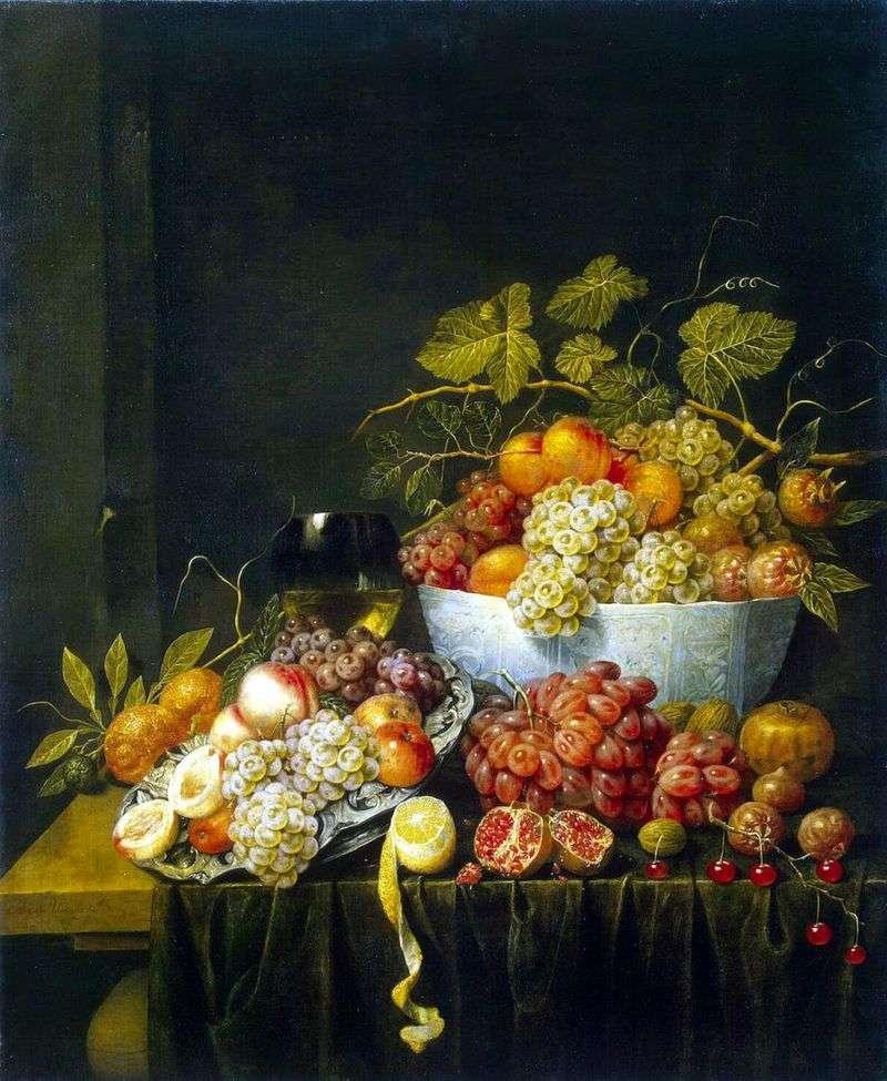 Martwa natura z winogronami   Adrian van Utrecht