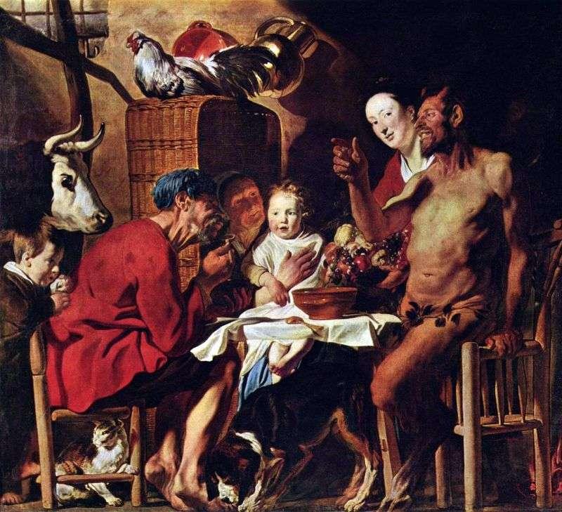Satyr w domu chłopów   Jacob Jordaens
