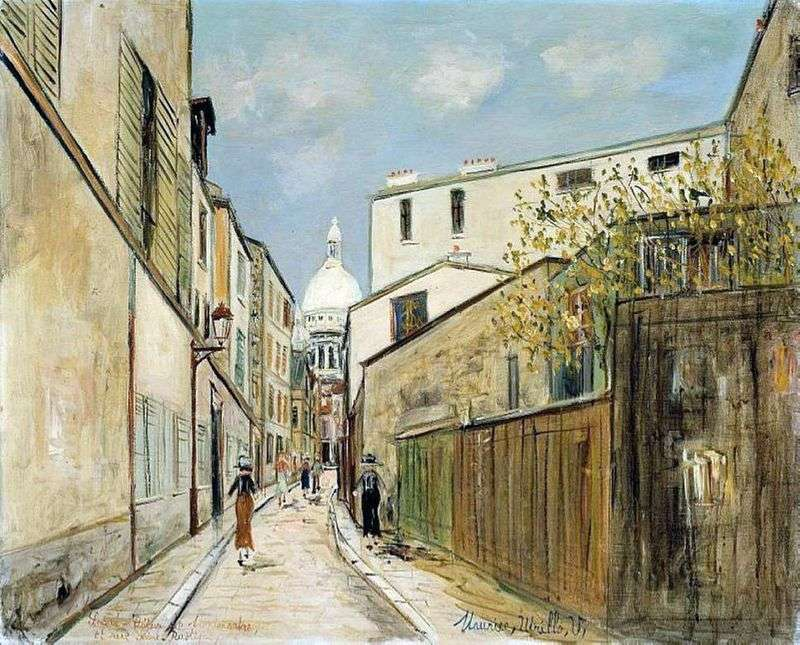 Bazylika Sacré Cœur i ulica Rue Saint Rustic   Maurice Utrillo