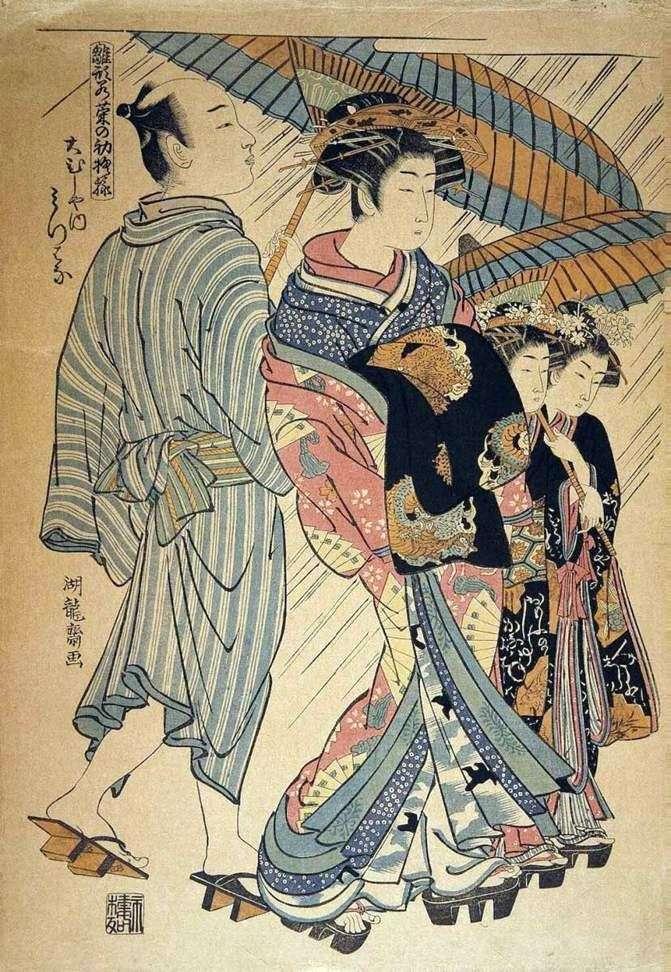 Mitsuya z herbaciarni Omusia   Isoda Koryusai