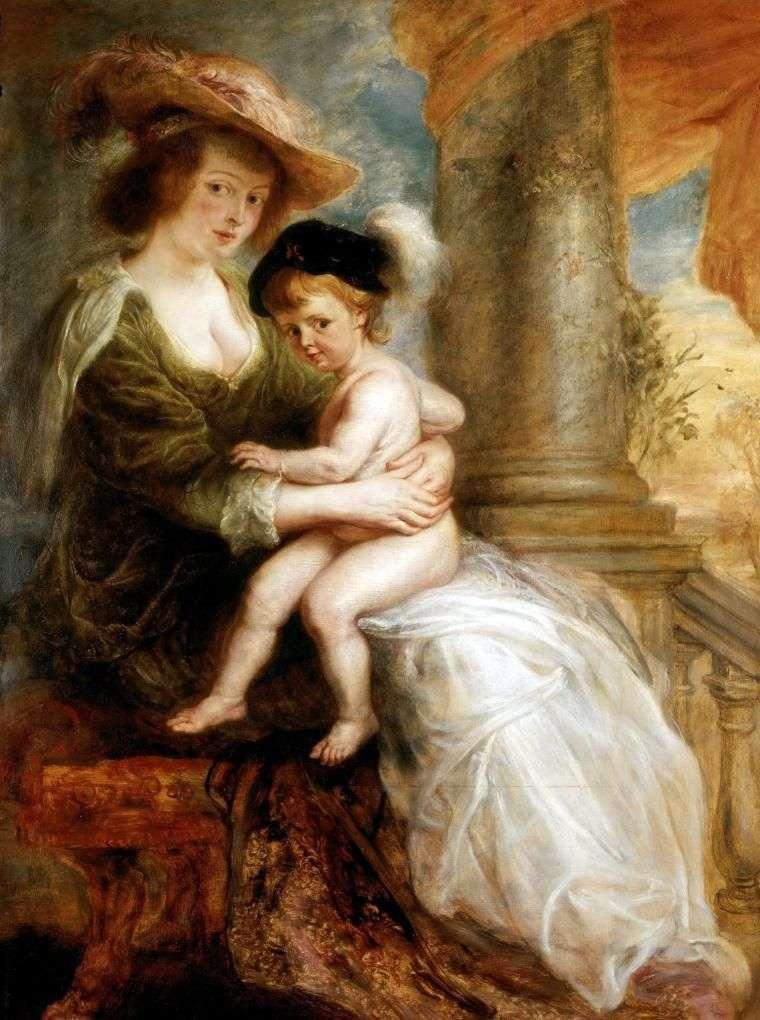 Portret Czwartek Eleny ze swoim najstarszym synem Franzem   Peterem Rubensem
