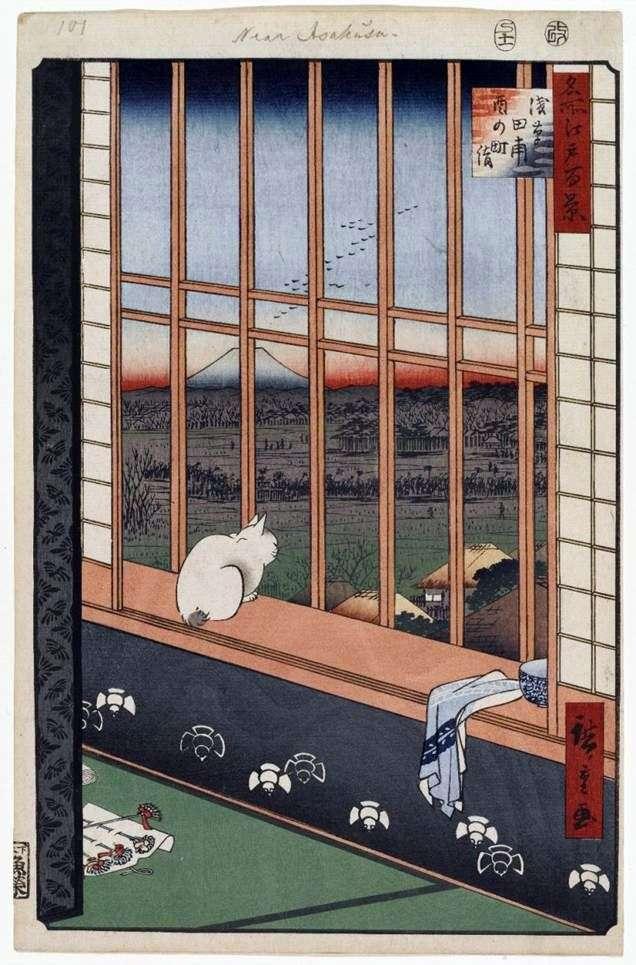 Pielgrzymka Torinomati na polach Asakusa   Ando Hiroshige