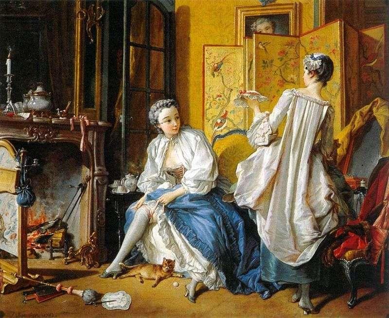 Podwiązka sprzątająca kobieta   Francois Boucher