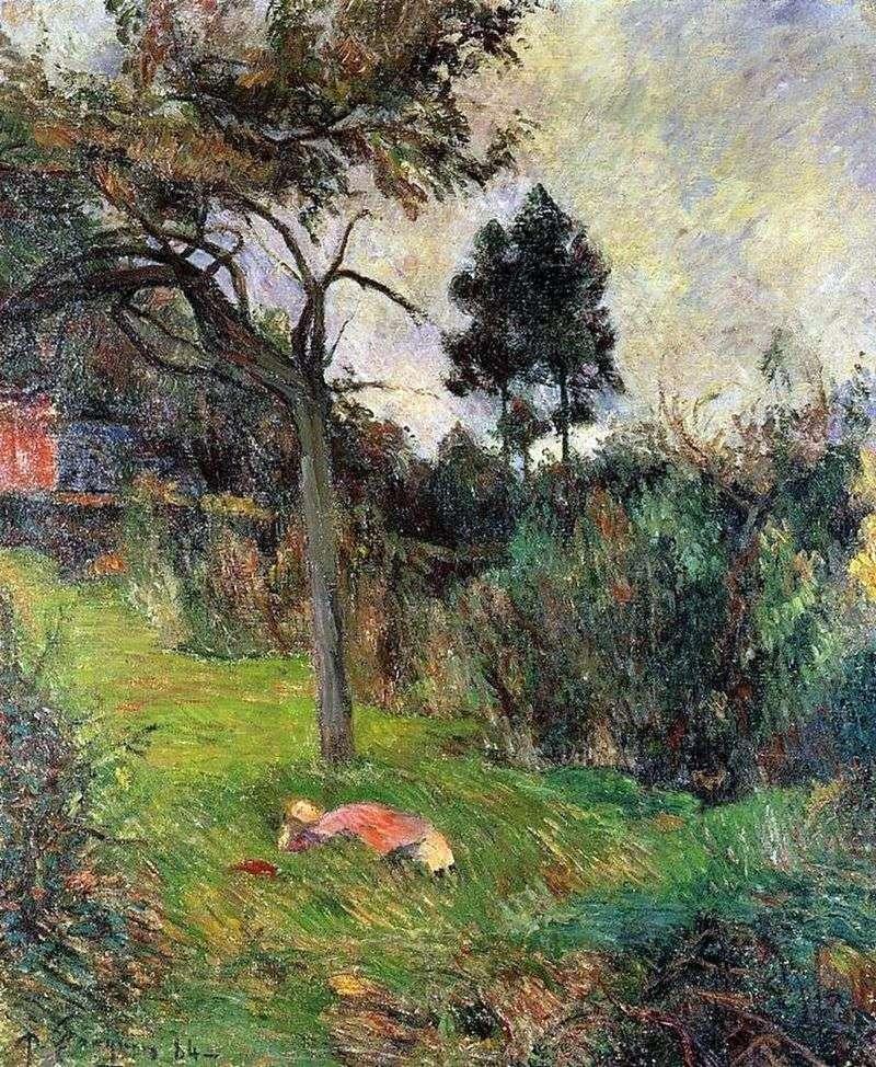 Młoda kobieta, leżąc na trawie   Paul Gauguin