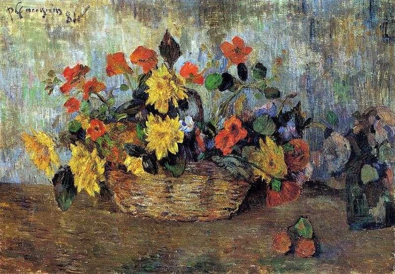 Nasturcje i dalie w koszu   Paul Gauguin