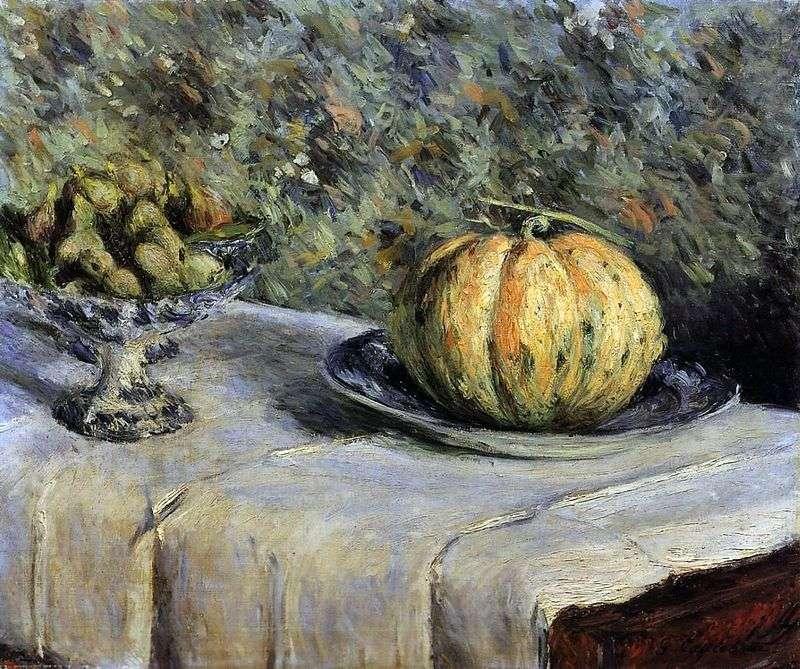 Melon i wazon z datami   Gustave Caibotte