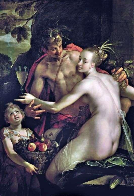 Bahus, Ceres i Kupidyn   Hans von Aachen