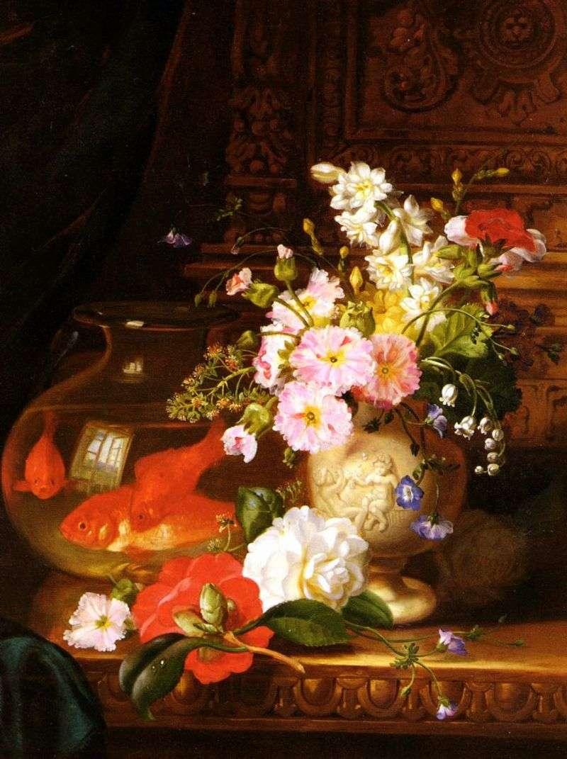 Martwa natura z kamelii, pierwiosnków, lilii i akwarium z złotą rybką   John Wainwright