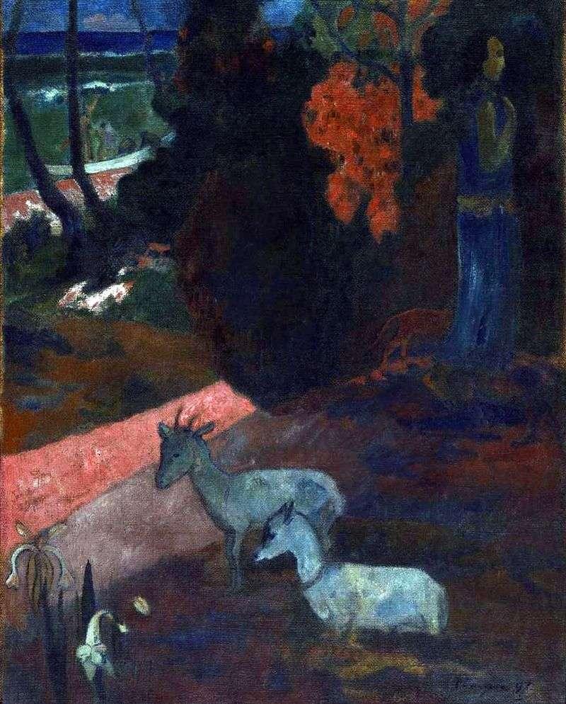 Pejzaż z dwoma kozami   Paul Gauguin