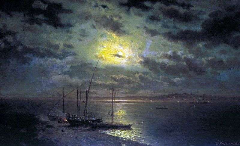 Księżycowa noc nad rzeką   Lew Kamieniew