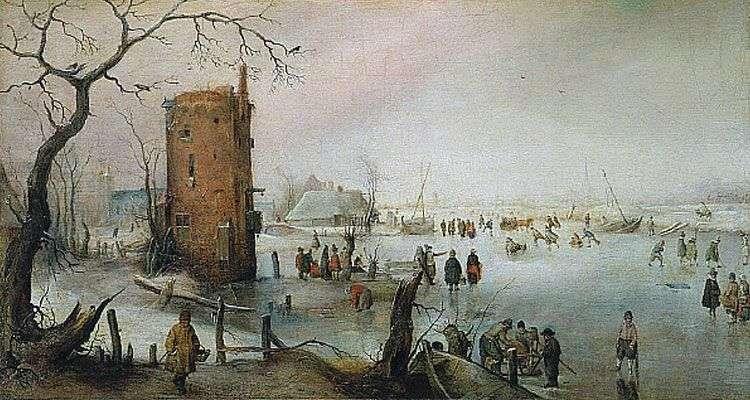 Zimowy pejzaż z wieżą   Hendrick Averkamp
