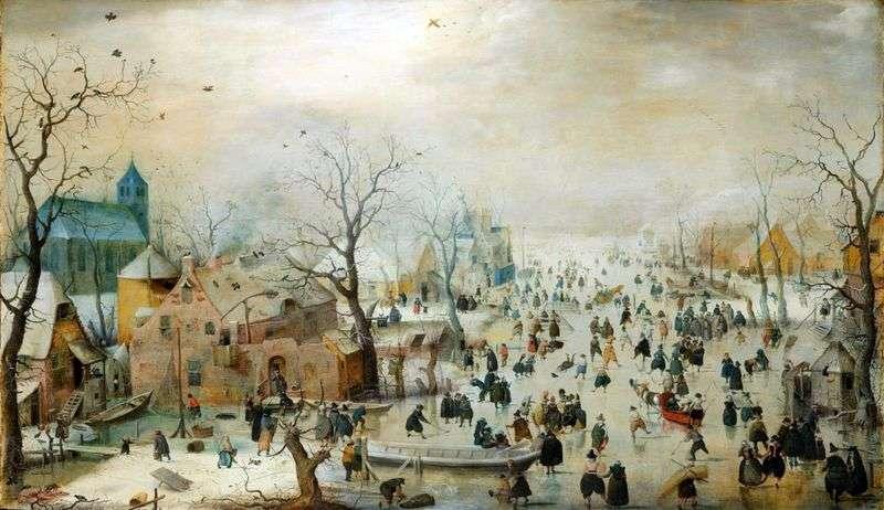 Zimowy krajobraz z lodowiskiem   Hendrik Averkamp
