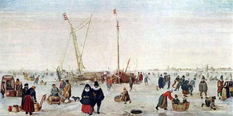Zimowy krajobraz z łyżwiarzami   Hendrick Averkamp