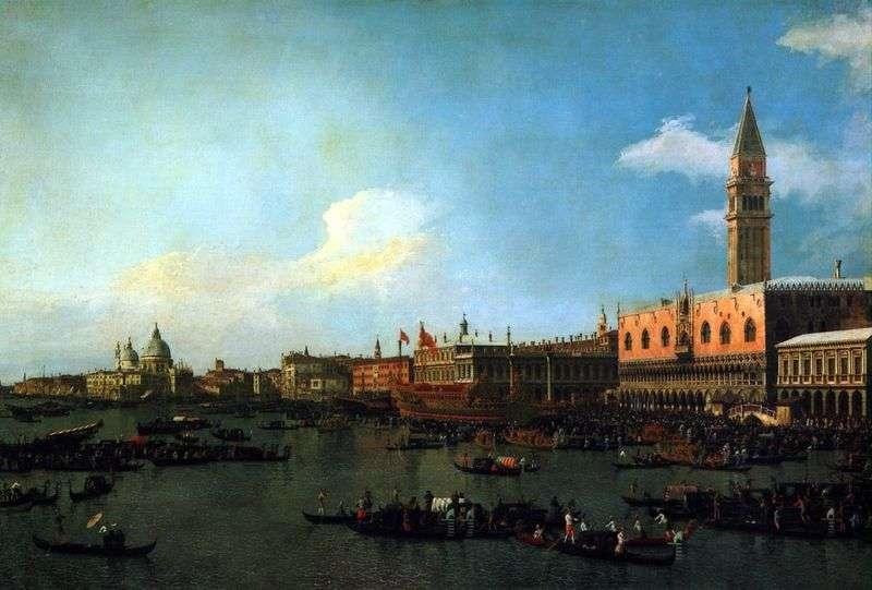Busentaur przygotowuje się do wypłynięcia z molo w dniu Wniebowstąpienia   Antonio Canaletto