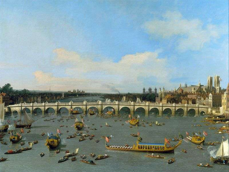 Westminster Bridge w Londynie z Carcade Mayor w Thames   Antonio Canaletto