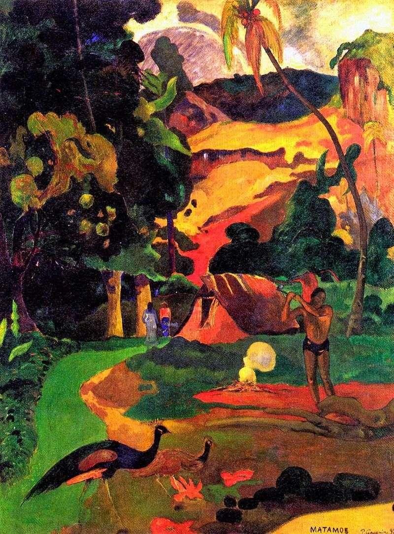 Śmierć Pejzaż z pawie   Paul Gauguin