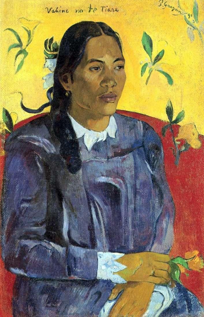 Tahitańska kobieta z kwiatkiem   Paul Gauguin