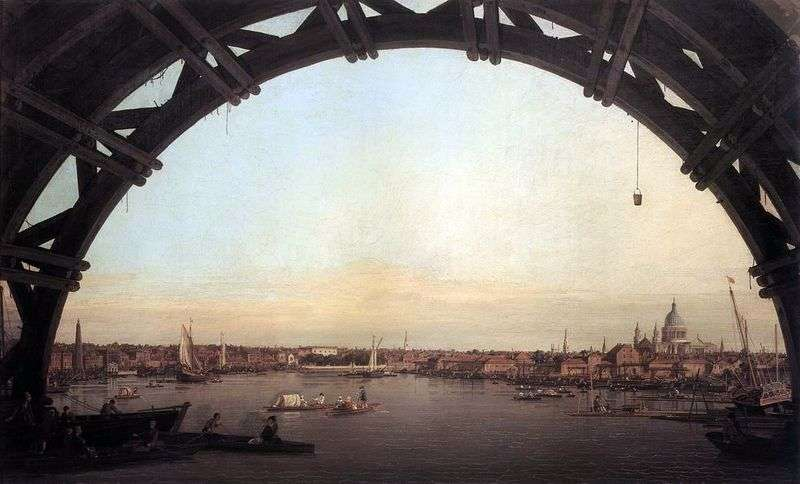 Widok Londynu przez łuk Westminster Bridge   Antonio Canaletto