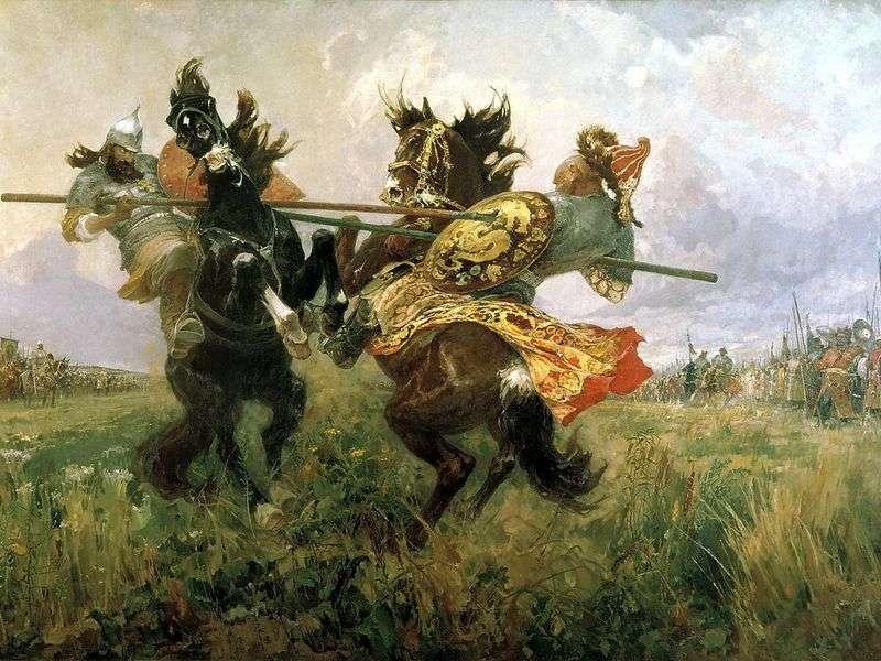 Walka Peresvet z Chelubey na Kulikowym polu   Mikhail Avilov