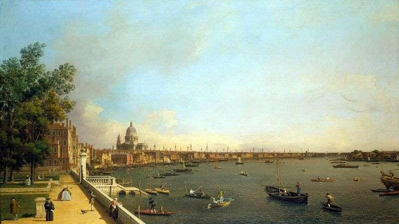 Widok na Tamizę i Londyn z Somersethaus   Antonio Canaletto