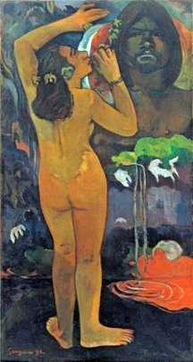 Hina, bogini księżyca i Te Fatou, duch ziemi (Księżyc i Ziemia)   Paul Gauguin