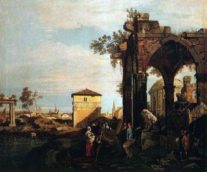 Capriccio z ruinami i bramami Portello w Padwie   Antonio Canaletto