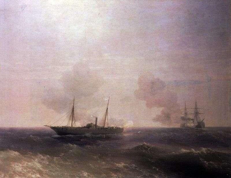 Bitwa o Vestę z tureckim pancernikiem Fehti Buland   Ivan Aivazovsky
