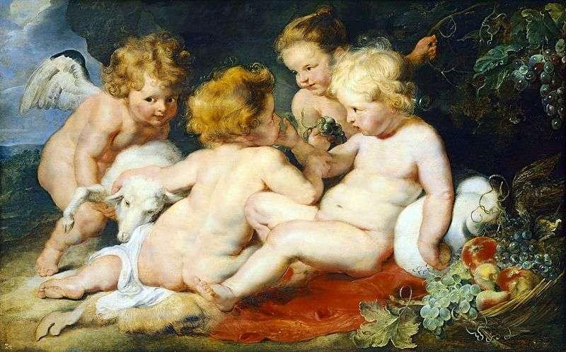 Chrystus i św. Jan z aniołem i dziewczynką   Peter Rubens