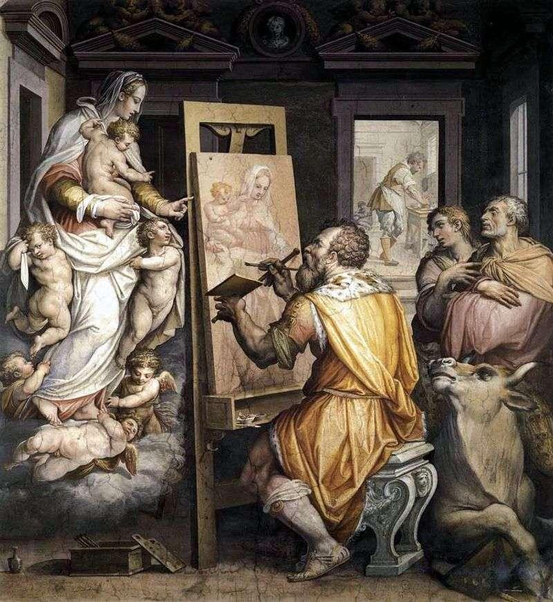St Luke maluje portret Matki Boskiej   Giorgio Vasari