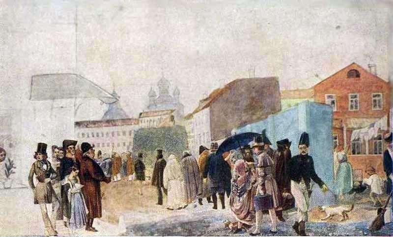 Ulica sceny w Moskwie w deszczu   Pavel Fedotov