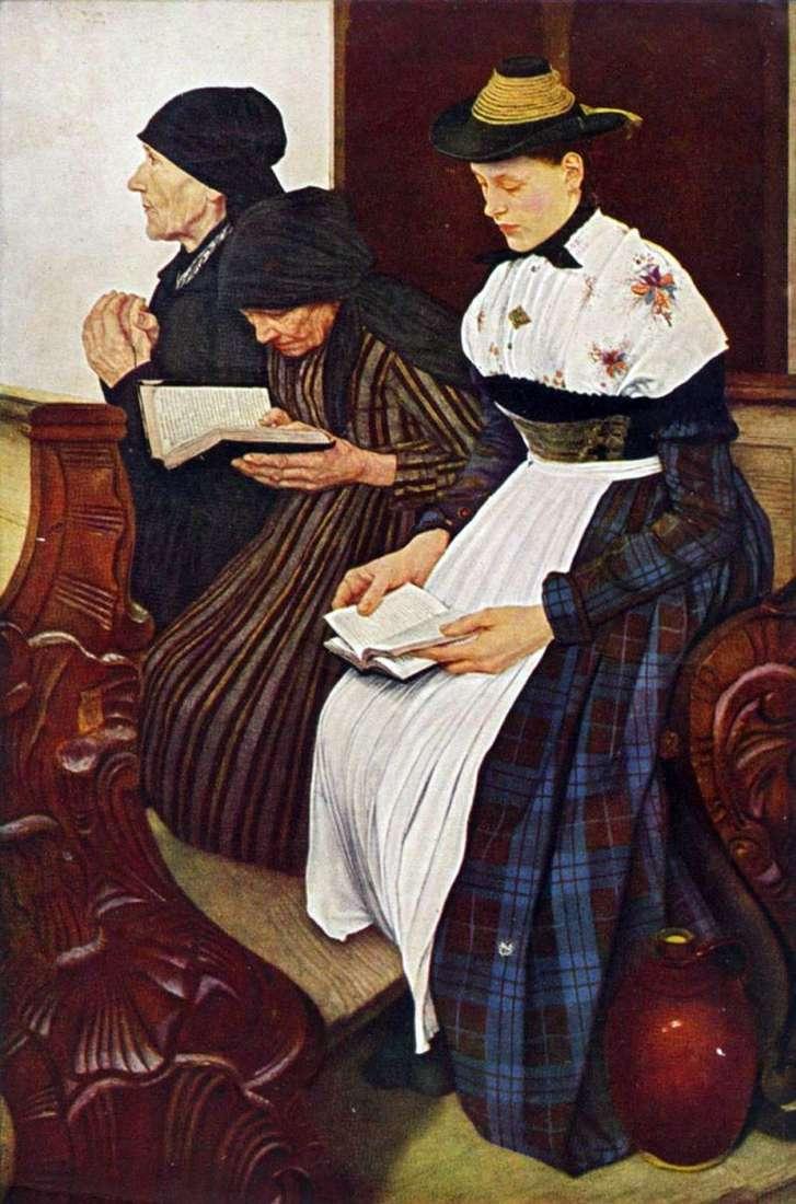 Trzy kobiety w kościele   Wilhelm Leibl