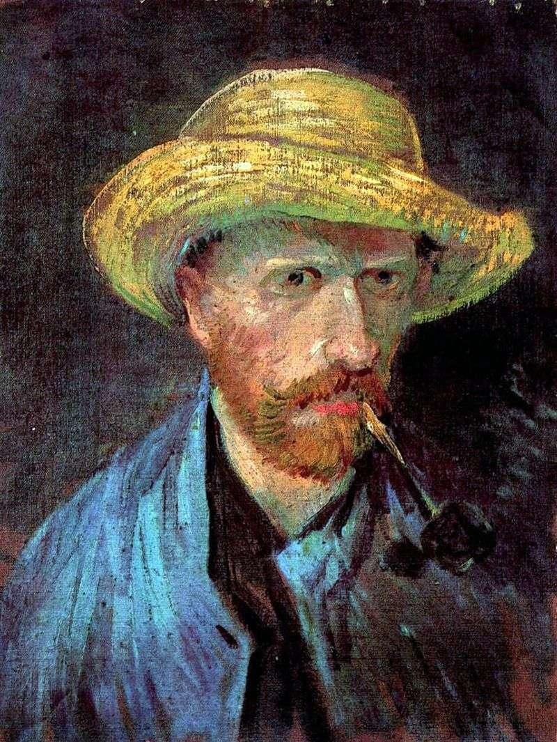 Autoportret w słomkowym kapeluszu z fajką   Vincent Van Gogh