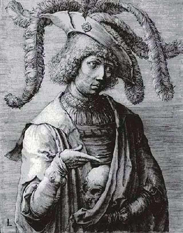 Młody człowiek z czaszką w dłoniach   Lukas van Leiden
