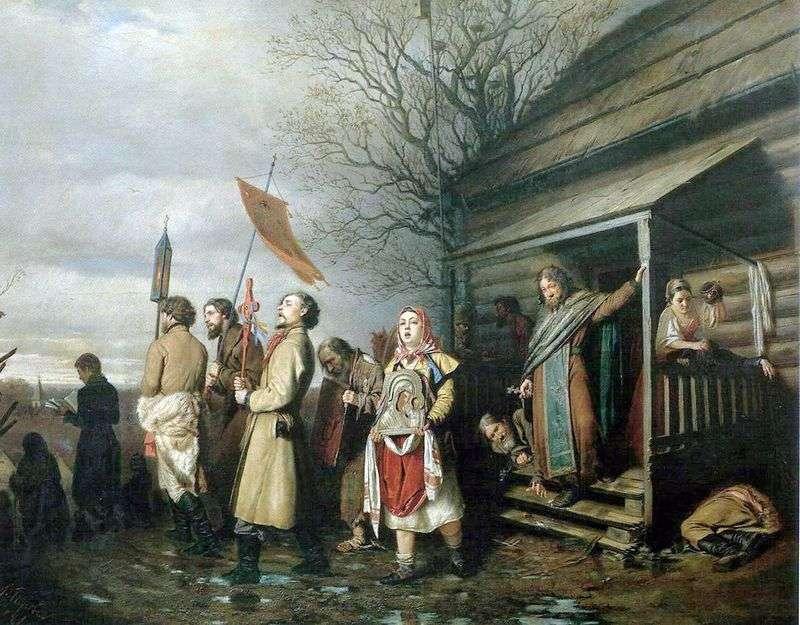 Wiejska procesja religijna na Wielkanoc   Wasilij Perow