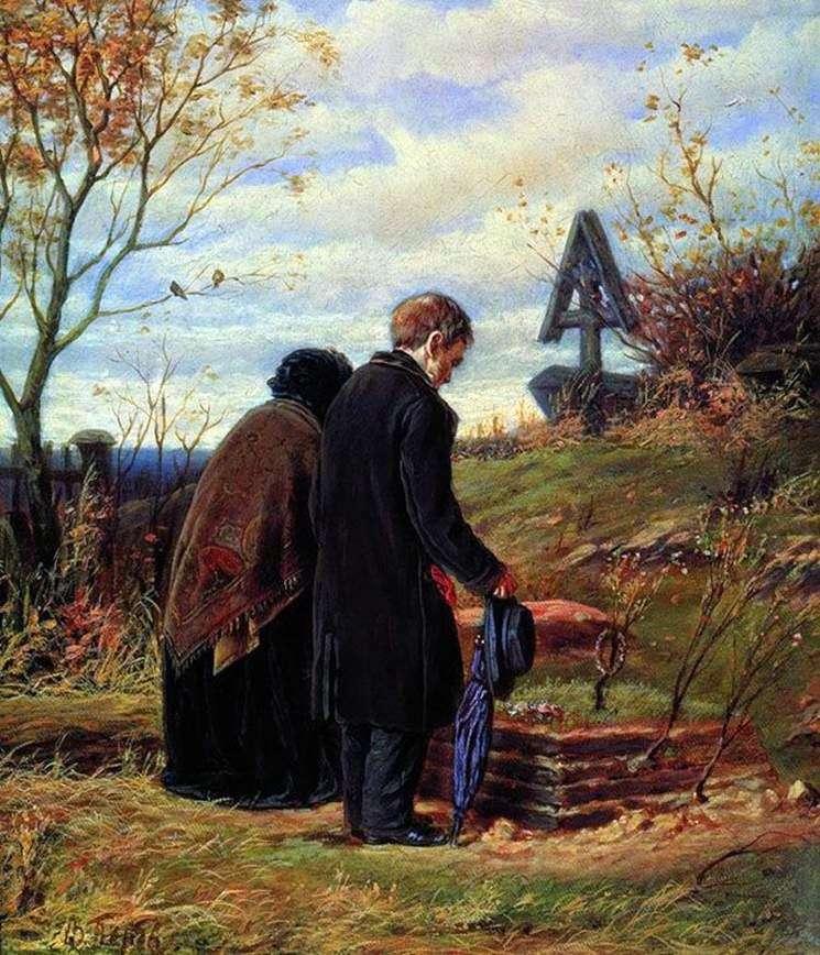 Starzy rodzice na grobie jego syna   Wasilij Perow