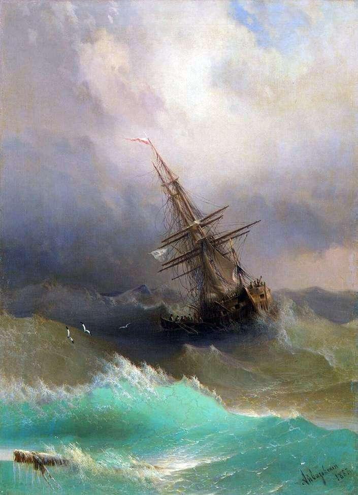 Statek w środku burzliwego morza   Iwan Ajwazowski