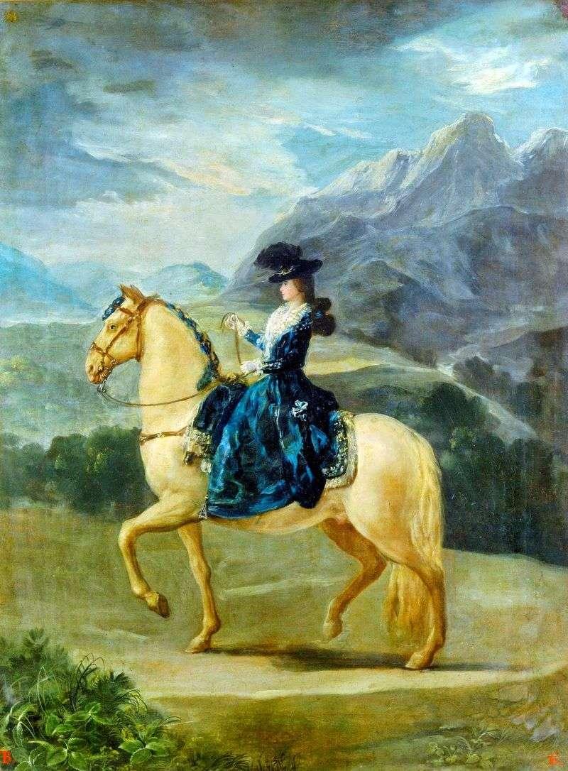 Portret Marii Teresy de Bourbonne Vallabriga na koniu   Francisco de Goya