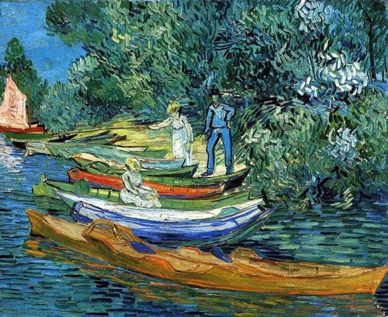 Wybrzeże z łodziami w Auvers nad rzeką Oise   Vincent Van Gogh