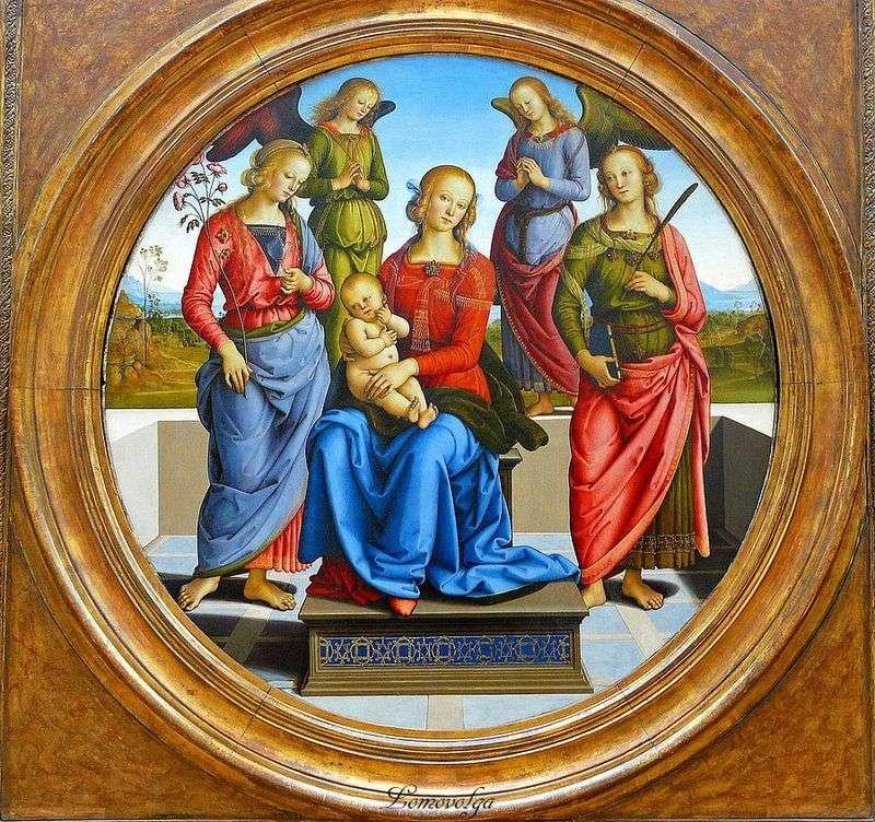 Madonna z Dzieciątkiem, otoczona aniołami, z sv. Róże i St. Catherine   Pietro Perugino