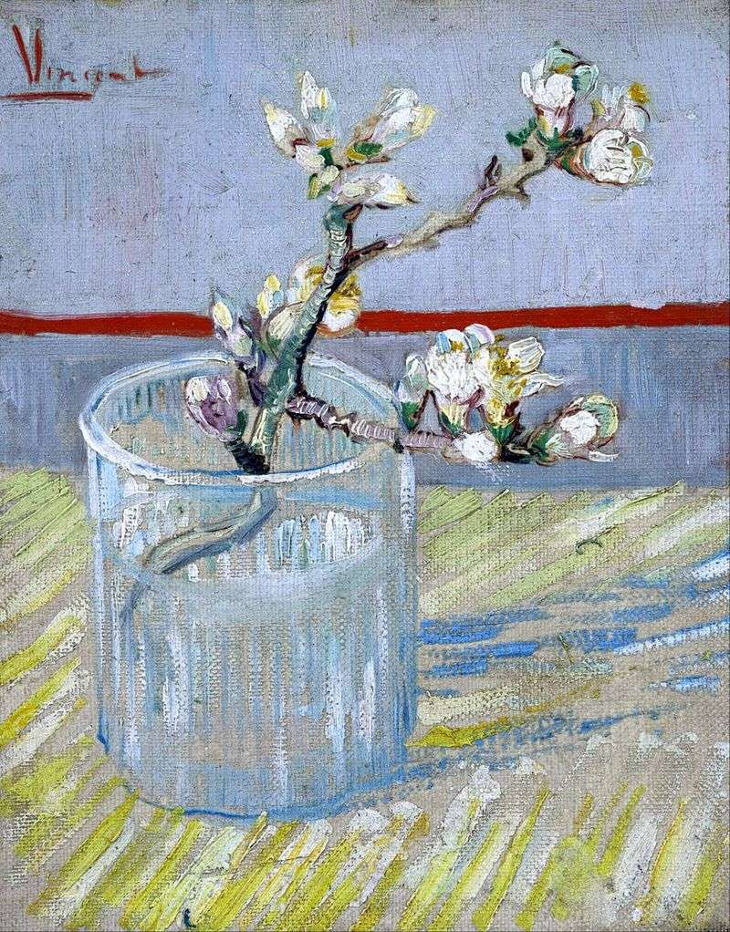 Oddział kwitnienia migdałów w szklance   Vincent Van Gogh