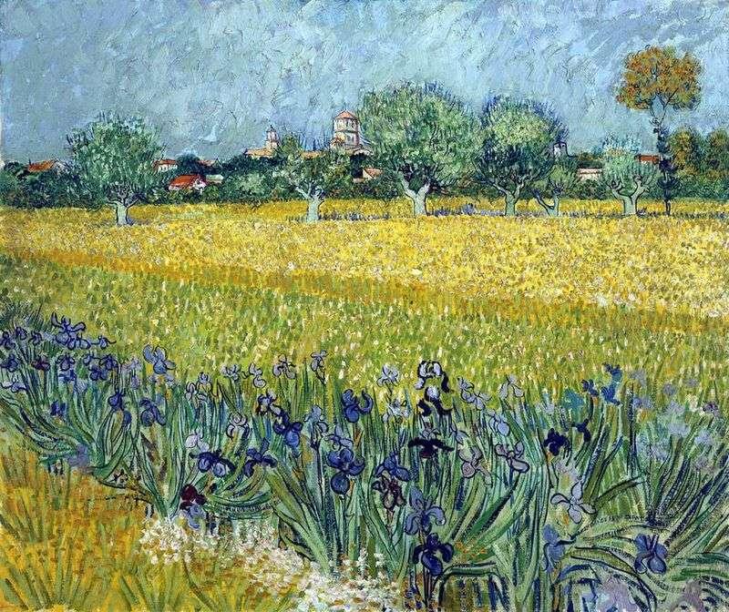 Zobacz na Arles z irysami na pierwszym planie   Vincent Van Gogh