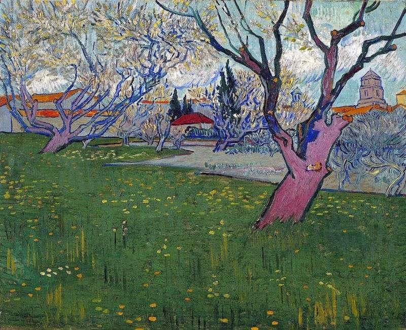 Widok Arles wśród kwitnących drzew   Vincent Van Gogh