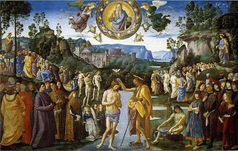Fresco Chrzest Chrystusa   Pietro Perugino