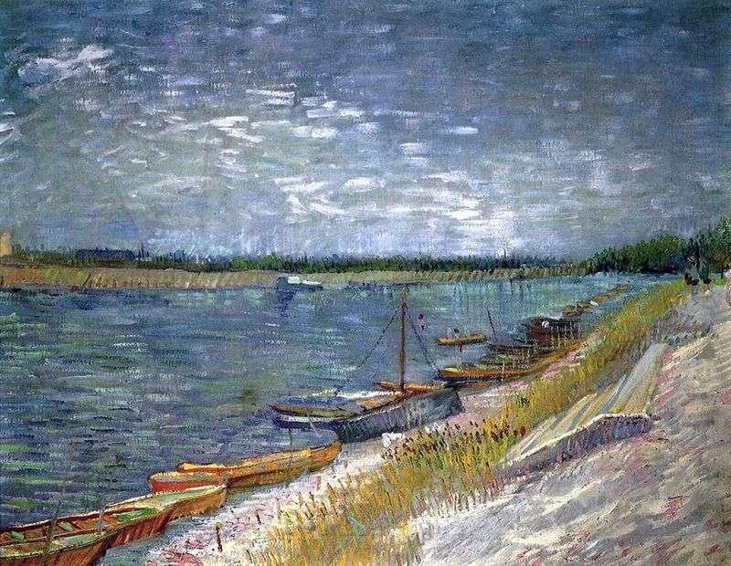 Widok na rzekę z łodzi wiosłowych   Vincent Van Gogh