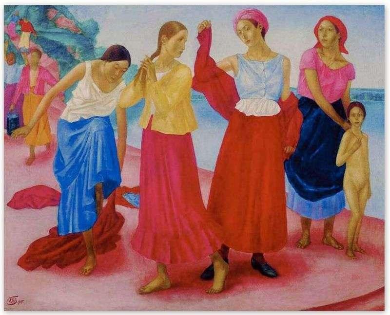 Dziewczyny nad Wołgą   Kuzma Pietrow Vodkin