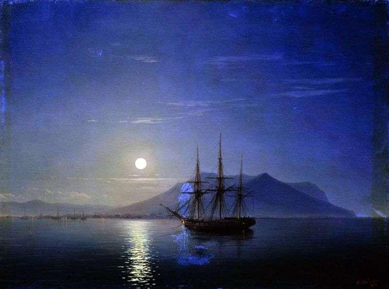 Żaglówka u wybrzeży Krymu w księżycową noc   Iwan Ajwazowski