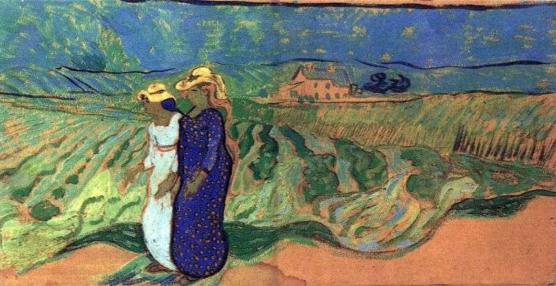 Dwie kobiety chodzące w polu   Vincent Van Gogh